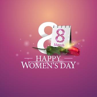 Logotipo del día de la mujer feliz con el número ocho y rosa