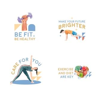 Logotipo con el día mundial de la diabetes para la marca y la acuarela de iconos