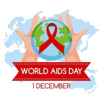 Logotipo del día mundial del sida o banner con cinta roja sobre fondo de mapa mundial