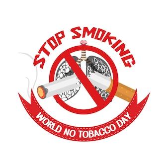 Logotipo del día mundial sin tabaco con letrero rojo de dejar de fumar prohibido
