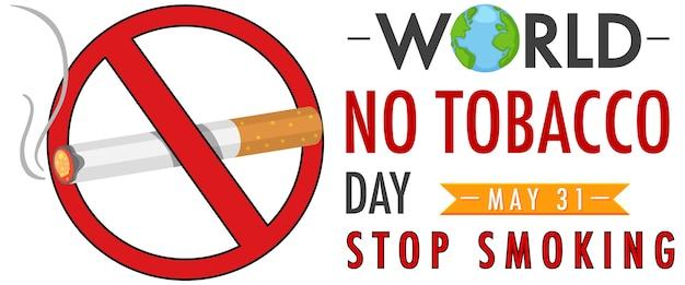 Logotipo del día mundial sin tabaco con letrero rojo de prohibido fumar