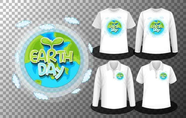 Logotipo del día de la tierra con un conjunto de camisetas diferentes con la pantalla del logotipo del día de la tierra en las camisas