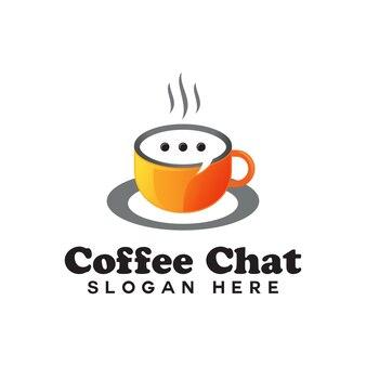 Logotipo de diálogo de conversación de chat de café, logotipo de gradiente de café de la mañana