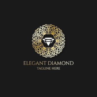 Logotipo de diamante con elegantes elementos dorados.
