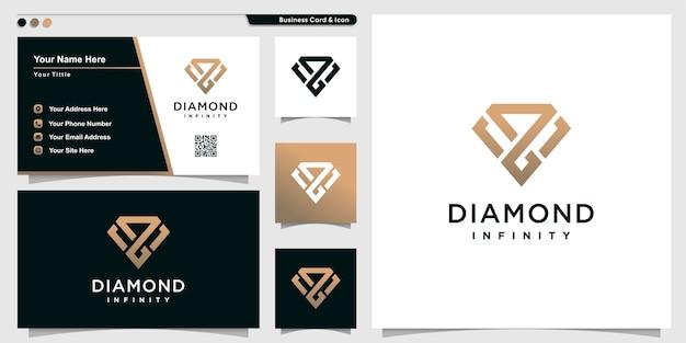 Logotipo de diamante con estilo de arte de contorno infinito y plantilla de diseño de tarjeta de visita