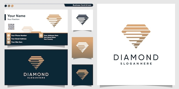 Logotipo de diamante con estilo de silueta gemela y plantilla de diseño de tarjeta de visita