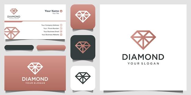 Logotipo de diamante. excelente logo de joyas. icono y tarjeta de visita