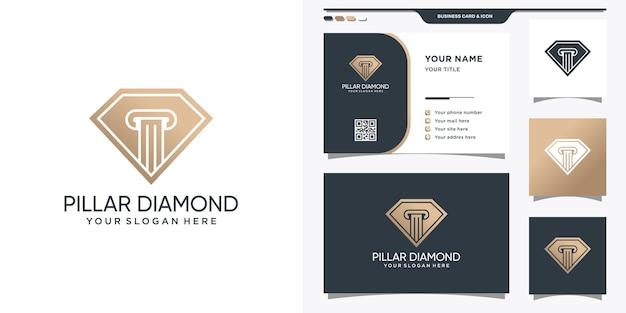 Logotipo de diamante con símbolo de la ley y tarjeta de visita.