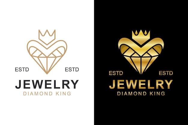 Logotipo de diamantes de oro de lujo. diamante creativo con logo de corona