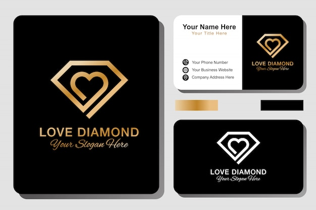 Logotipo de diamond love y tarjeta de visita.