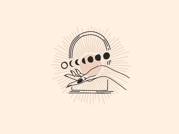 Logotipo dibujado a mano, fase lunar y mano femenina en arco, arte lineal en estilo simple.