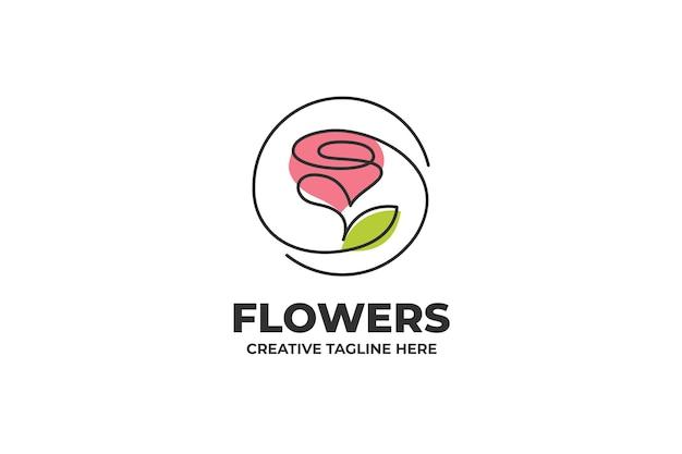 Logotipo de dibujo de una línea de flor rosa