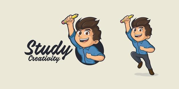 Logotipo de dibujos animados de estudiantes creativos
