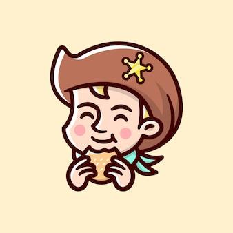 Logotipo de dibujos animados happy cowboy eating hamburger para negocios culinarios