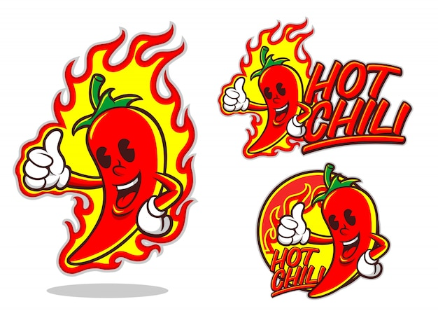 Logotipo de dibujos animados de hot chili