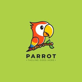 Logotipo de dibujos animados de loro