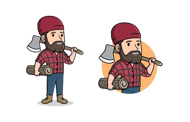 Logotipo de dibujos animados de mascota de leñador