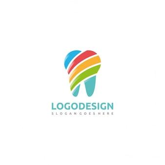 Logotipo con un diente colorido