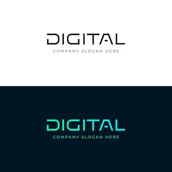 Logotipo digital. palabra de letras digitales. emblema. plantilla de logotipo