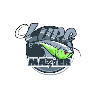 Logotipo dinámico del club de pescadores con el nombre lure master.