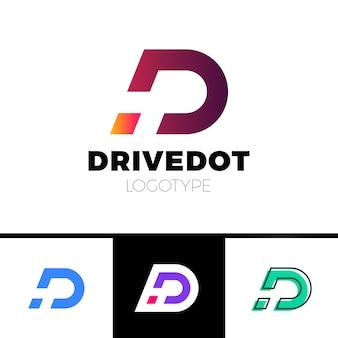 Logotipo dinámico letra d en elementos de plantilla de diseño de icono de espacio negativo con punto o punto