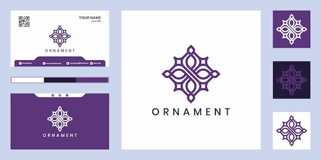Logotipo de diseño de adorno de lujo que inspira. diseño de logotipo y tarjeta de visita