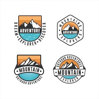 Logotipo de diseño de aventura al aire libre de montaña