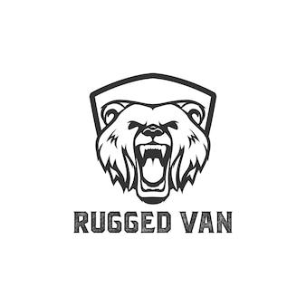El logotipo del diseño de la cabeza del oso está rugiendo