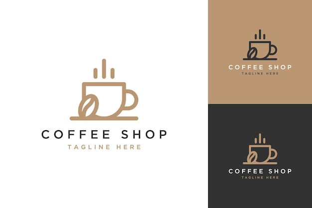 Logotipo de diseño de cafetería o una taza de café con granos de café