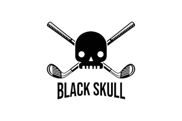 Logotipo de diseño de calavera negra