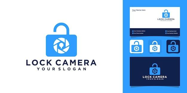 Logotipo de diseño de combinación de cámara y candado y tarjeta de visita