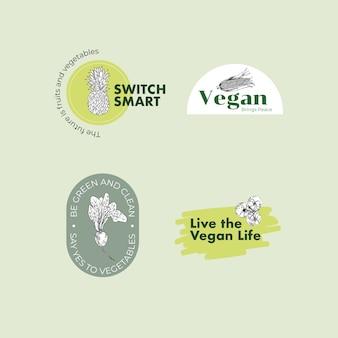 Logotipo con diseño de concepto de comida vegana para marca.