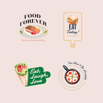 Logotipo con diseño de concepto del día mundial de la alimentación para restaurante y acuarela de marca