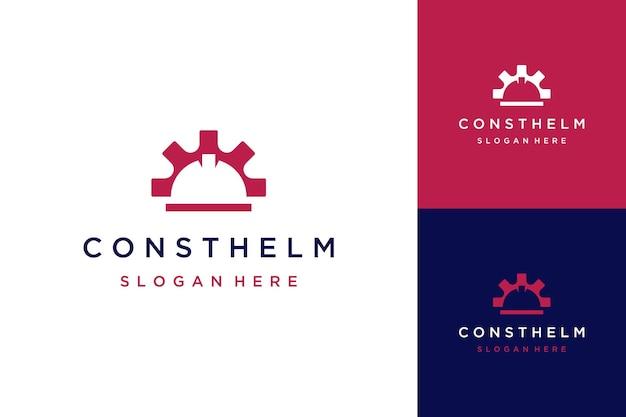 Logotipo de diseño de construcción o casco de construcción con equipo