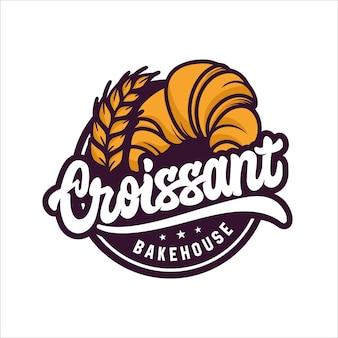 Logotipo de diseño de croissant bakehouse