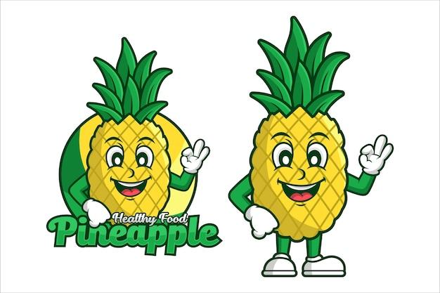Logotipo de diseño de dibujos animados de personaje de comida sana de piña
