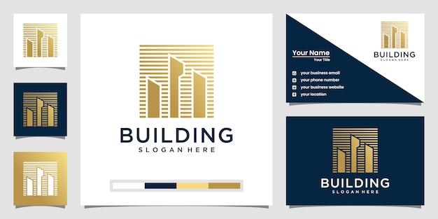 Logotipo de diseño de edificio y tarjeta de visita.