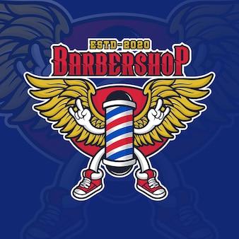 Logotipo de diseño de lámpara angel barbershop