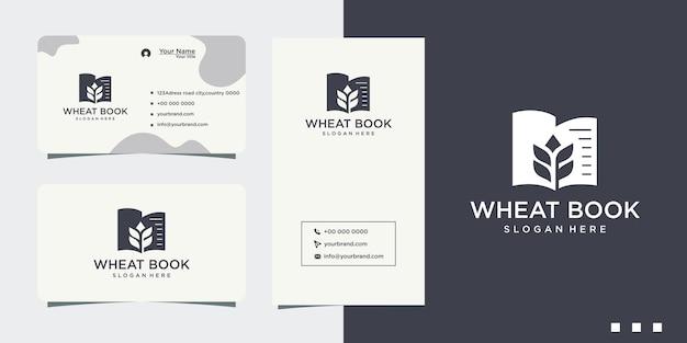 Logotipo de diseño de libro de trigo orgánico y tarjeta de visita.