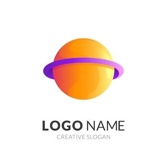 Logotipo de diseño de logotipo de planeta con estilo de color amarillo y morado 3d