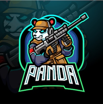 Logotipo de diseño de mascota panda esport