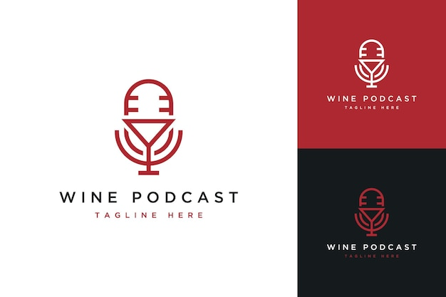 Logotipo de diseño de podcast o micrófono con copa de vino