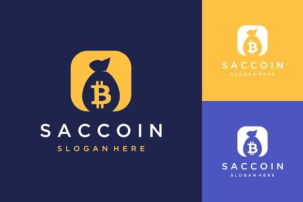 Logotipo de diseño de saco con bitcoin