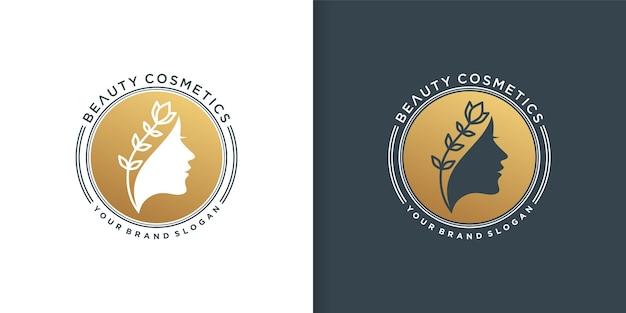 Logotipo dorado de cosméticos de belleza para mujer.