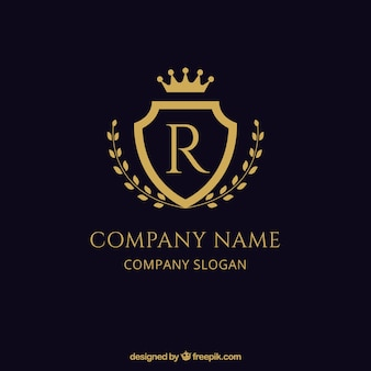 Logotipo dorado de escudo elegante