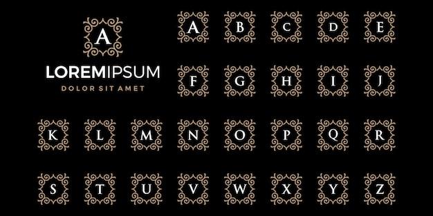 Logotipo dorado de lujo con compañía de iniciales