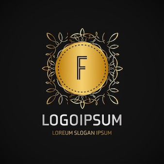 Logotipo dorado con un marco
