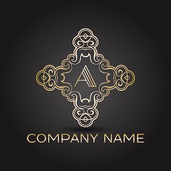 Logotipo dorado ornamental