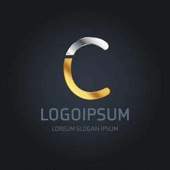 Logotipo dorado y plateado con la letra c