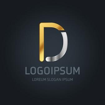 Logotipo dorado y plateado con la letra d